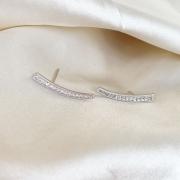 Earcuff Cravejado Cristal Banhado em Ródio Branco