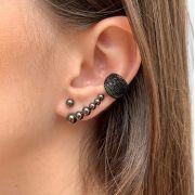 Earhook de Bolinhas Banhado em Ródio Negro