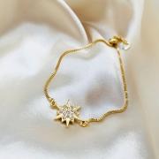 Pulseira Estrela Cravejada com Fecho de Correr Banhada em Ouro 18k