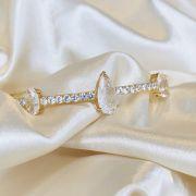 Bracelete com Gota Fusion e Cravejado de Zircônias Cristal Banhada em Ouro 18k