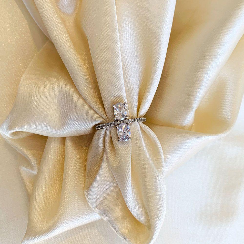 Anel 2 Pedras Ovais Cristal Banhado em Ródio Branco