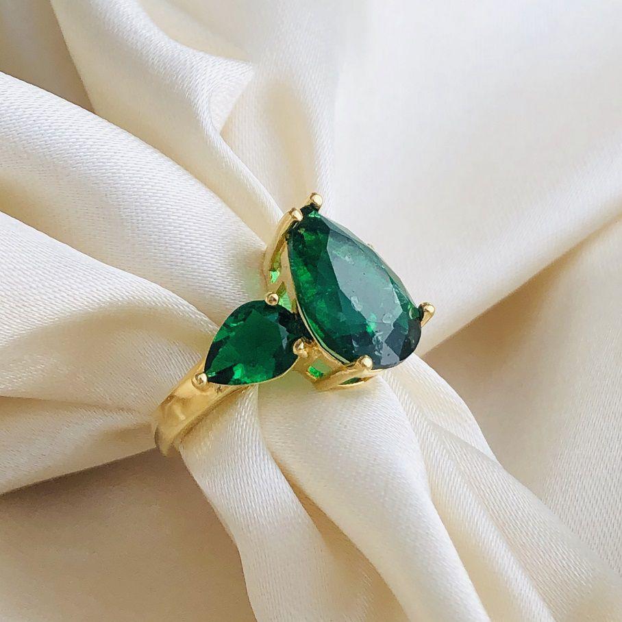 Anel 3 Gotas Esmeralda Fusion Banhado em Ouro 18k