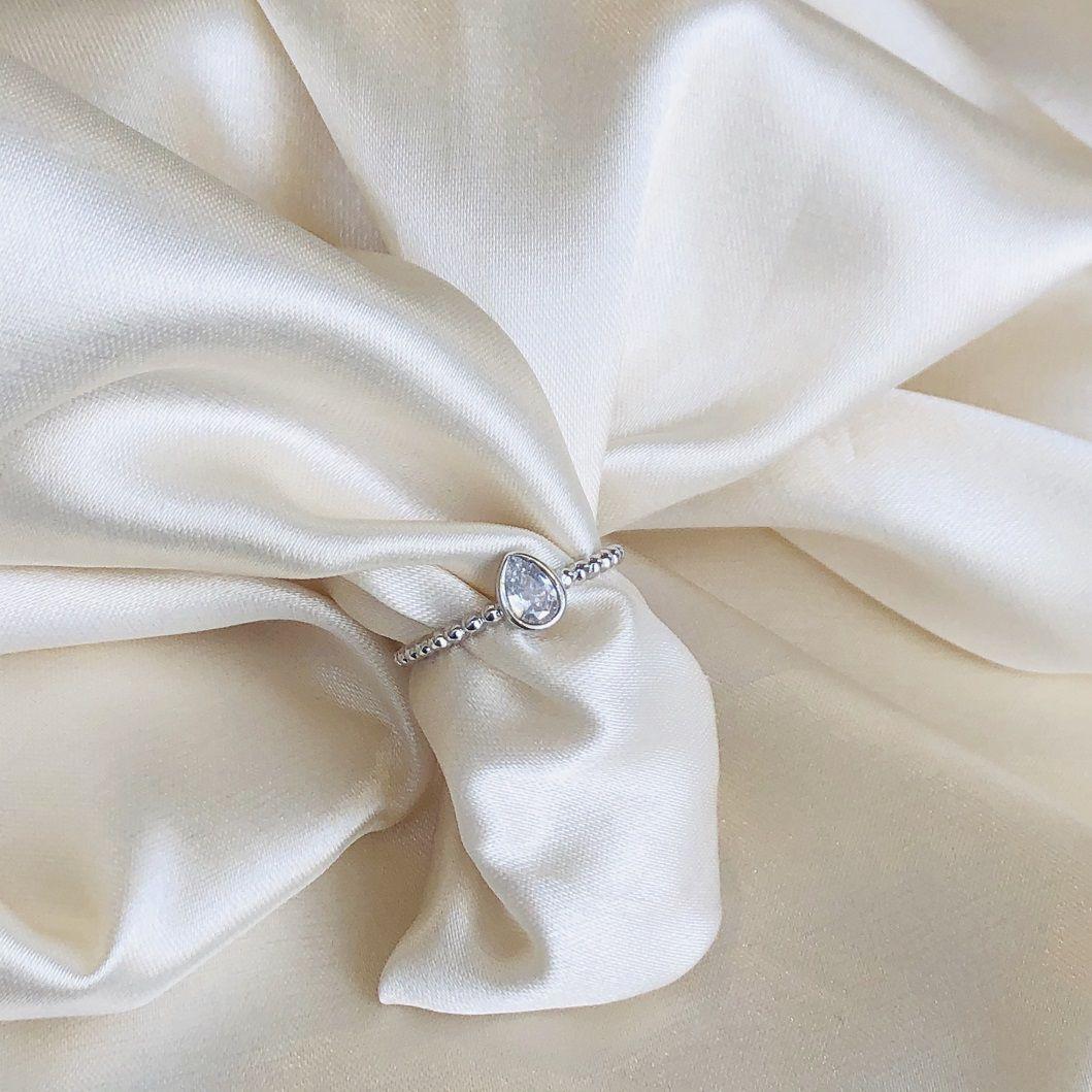 Anel de Bolinhas com Gotinha Cristal Banhado em Ródio Branco