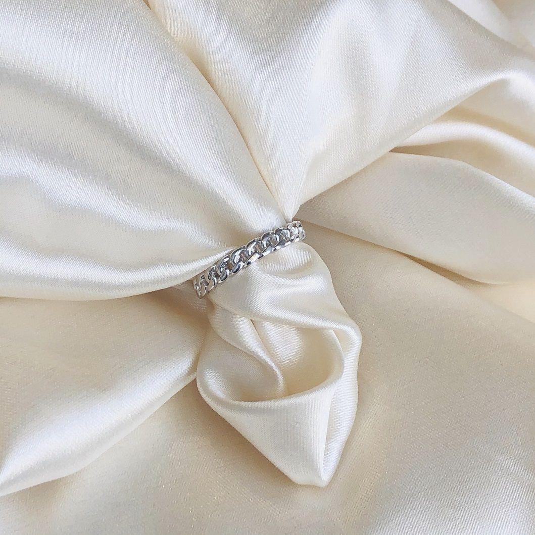 Anel de Corrente Banhado em Ródio Branco