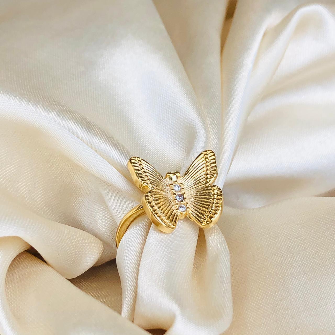 Anel de Borboleta G Banhada em Ouro 18k
