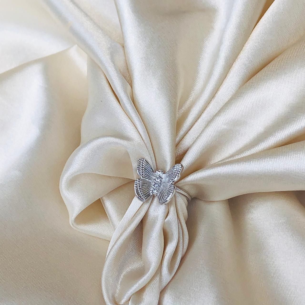 Anel de Borboleta G Banhada em Ródio Branco