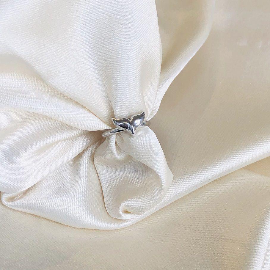 Anel de Falange Sereia Banhado em Ródio Branco
