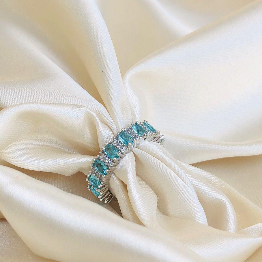 Anel Maxi Duplo Cravejado Turmalina e Cristal Banhado em Ródio Branco