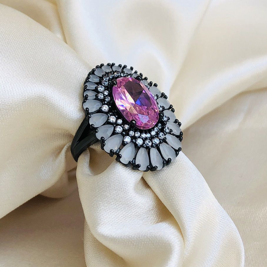 Anel Maxi Pedra Oval Rosa e Gotas Opal Banhado em Ródio Negro