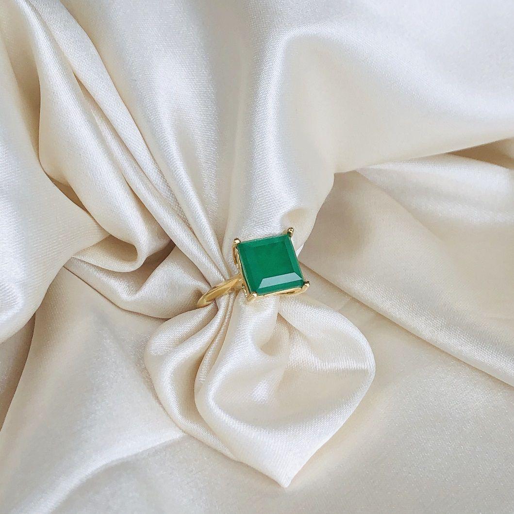 Anel Pedra Esmeralda Fusion Quadrada Banhado em Ouro 18K