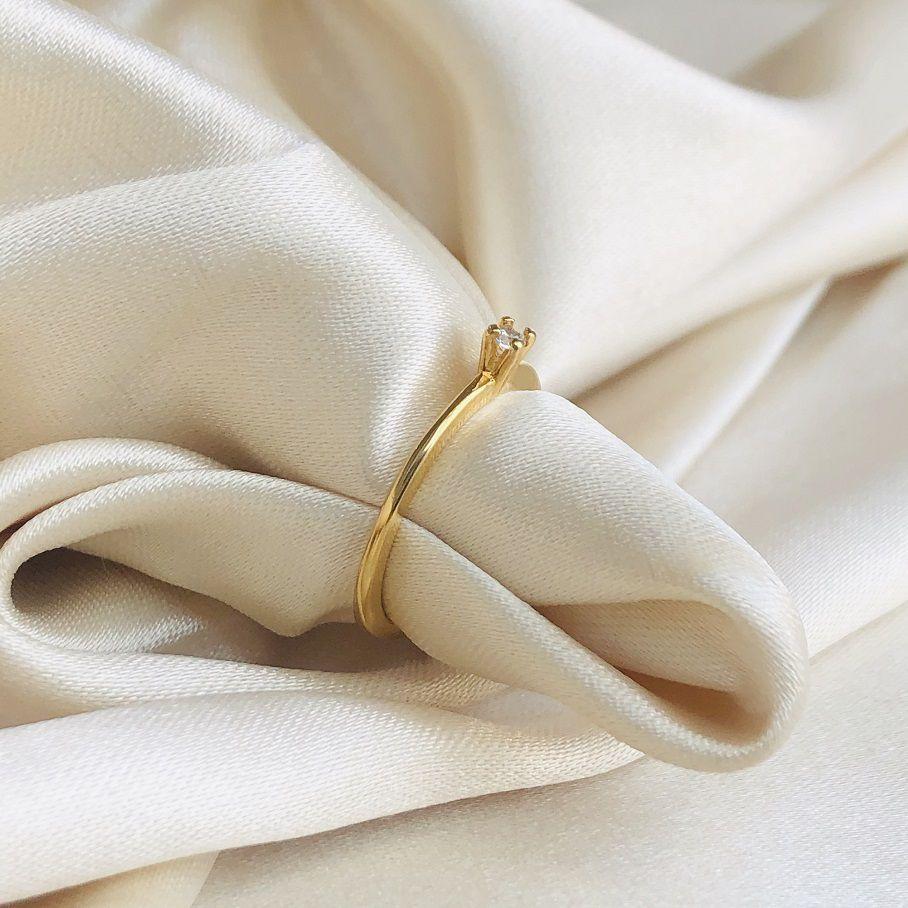 Anel Soliário Fino Médio Banhado em Ouro 18k