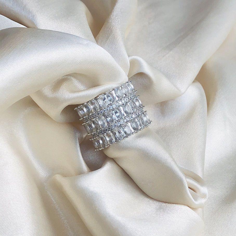 Anel Triplo Maxi Cristal Banhado em Ródio Branco