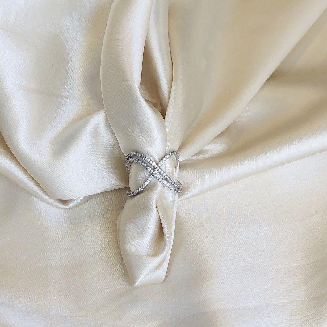 Anel X Duplo Cravejado Banhado em Ródio Branco