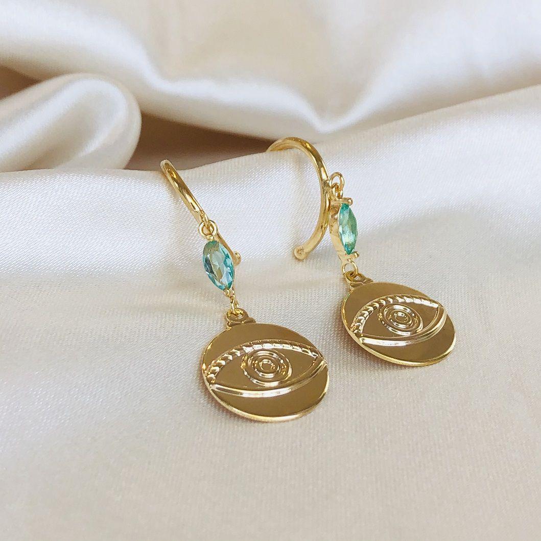 Argola Abundância Medalha Olho Banhada em Ouro 18k