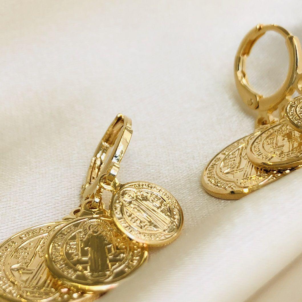 Argolinha com 3 Medalhas de São Bento Banhada em Ouro 18k
