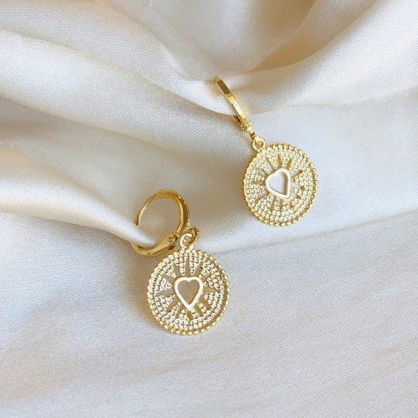 Argolinha com Medalha de Coração Banhada em Ouro 18k