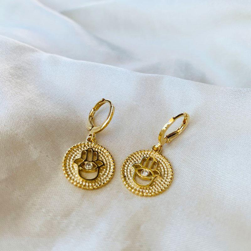 Argolinha com Medalha de Mão de Fátima Banhada em Ouro 18k