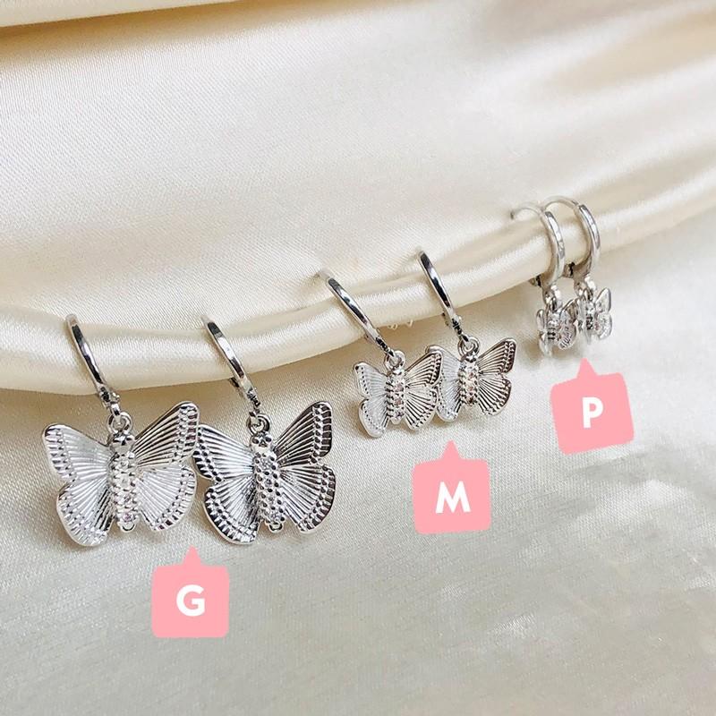 Argolinha com Pingente de Borboleta M Banhada em Ródio Branco