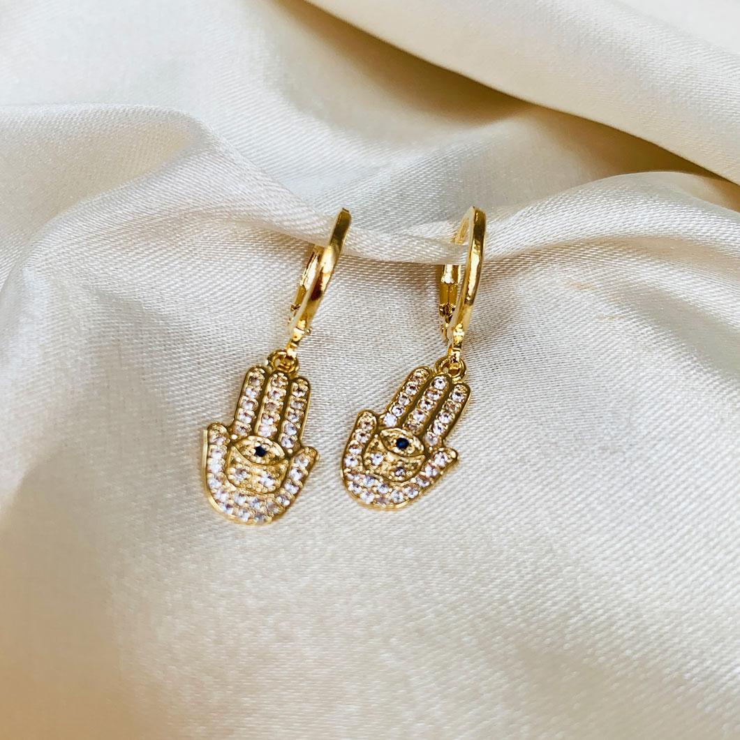 Argolinha com Pingente de Mão de Fatima Cristal Banhado em Ouro 18k
