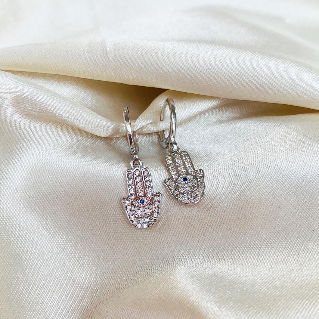 Argolinha com Pingente de Mão de Fatima Cristal Banhado em Ródio Branco