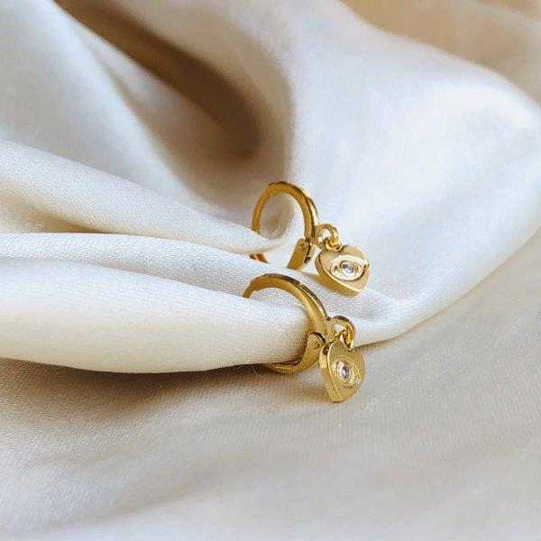 Argolinha Coração com Olho Grego Banhado em Ouro 18k