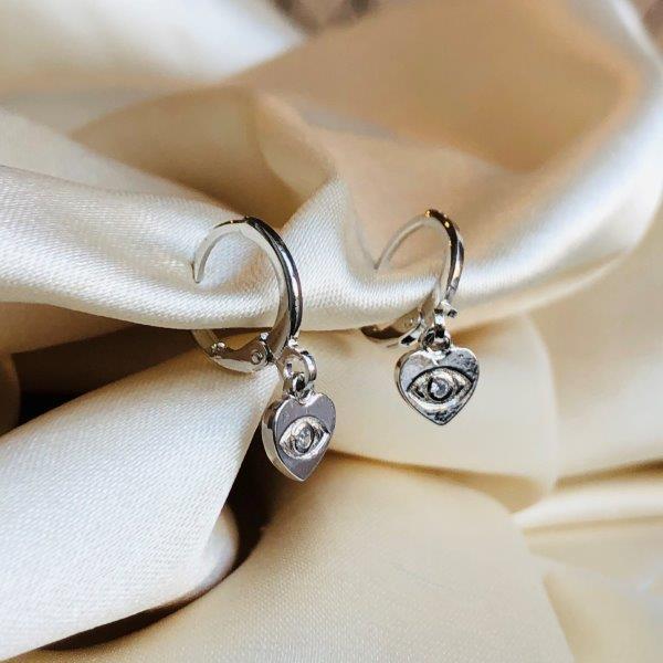 Argolinha Coração com Olho Grego Banhado em Ródio Branco