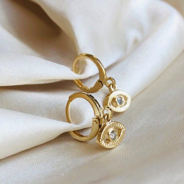 Argolinha Olho Grego Vazado com Zircônia Banhado em Ouro 18k
