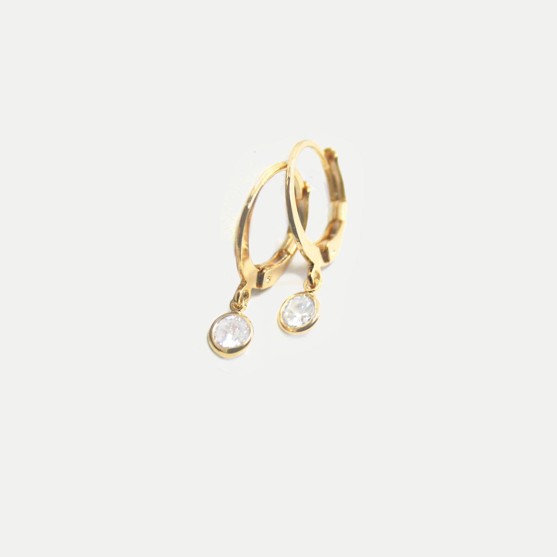 Argolinha com Pingente de Zircônia Banhada em Ouro 18k