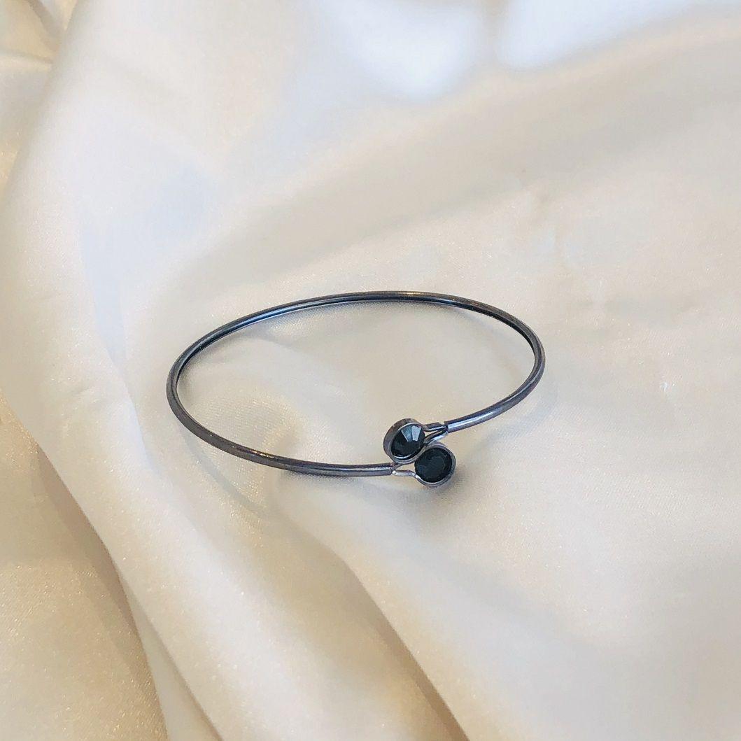 Bracelete com 2 Zircônias Ônix Banhado em Ródio Negro