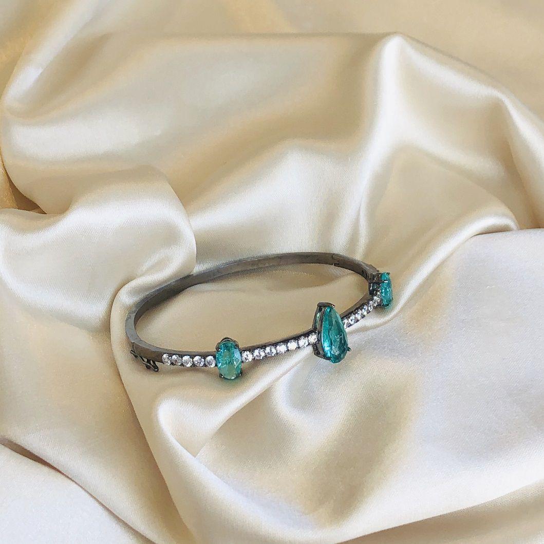 Bracelete com Gota Fusion Turmalina e Cravejado de Zircônias Cristal Banhada em Ródio Negro