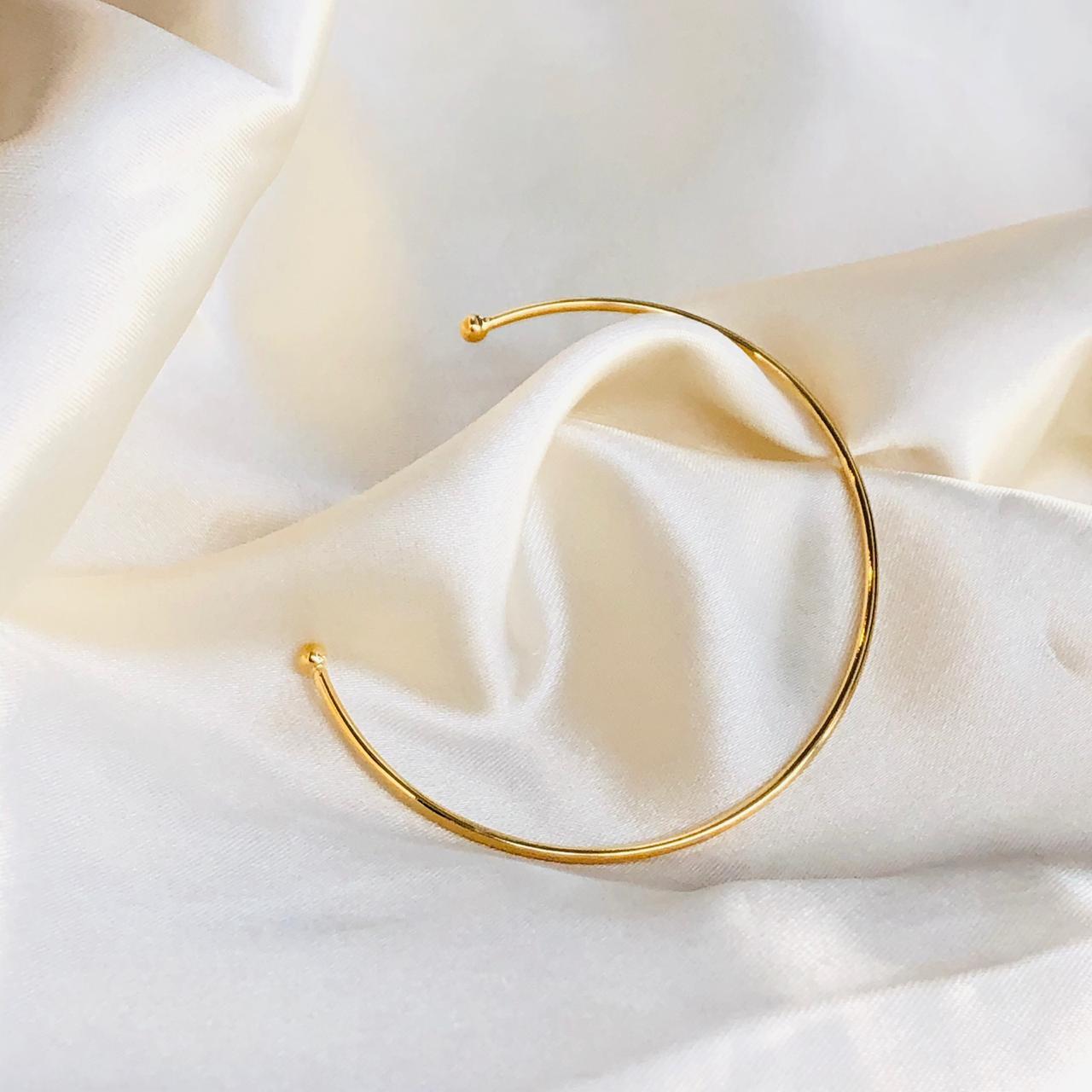 Bracelete Liso Regulável Banhado em Ouro 18k