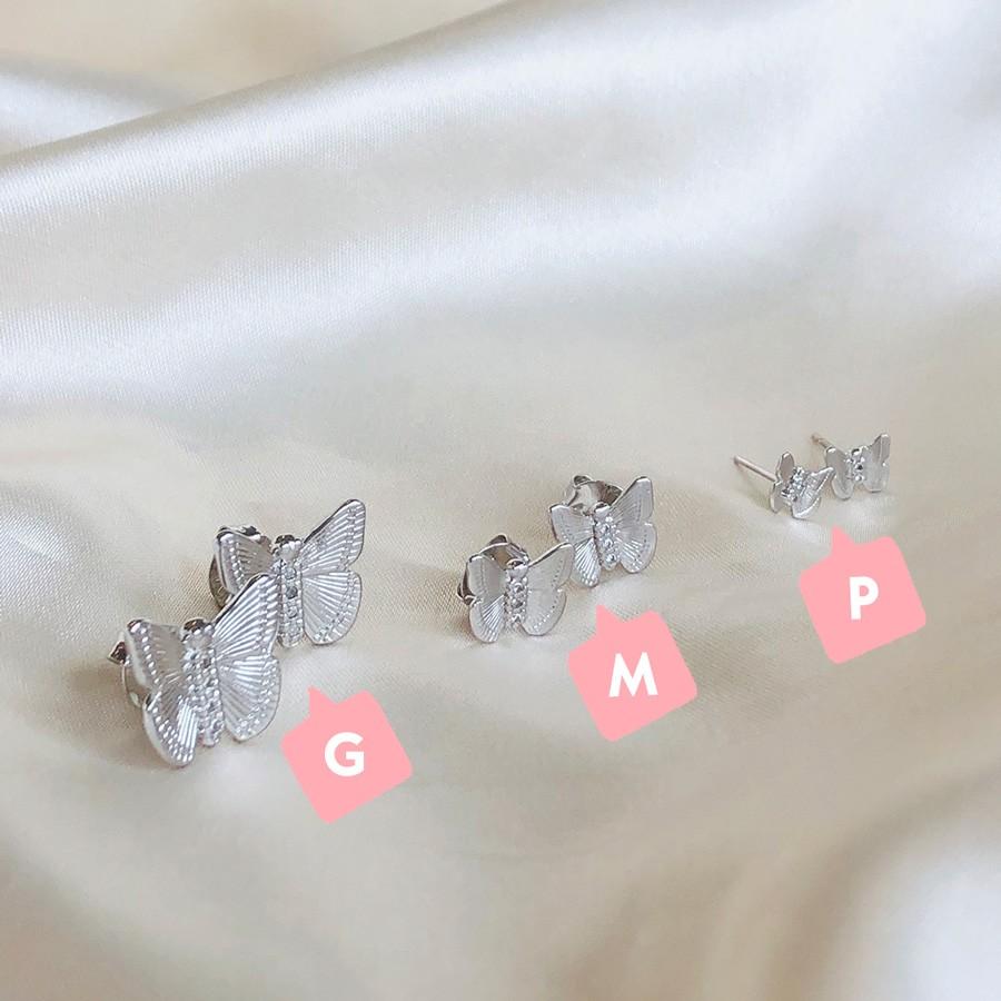 Brinco de Borboleta G Banhado em Ródio Branco