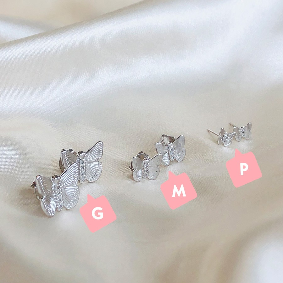 Brinco de Borboleta M Banhado em Ródio Branco