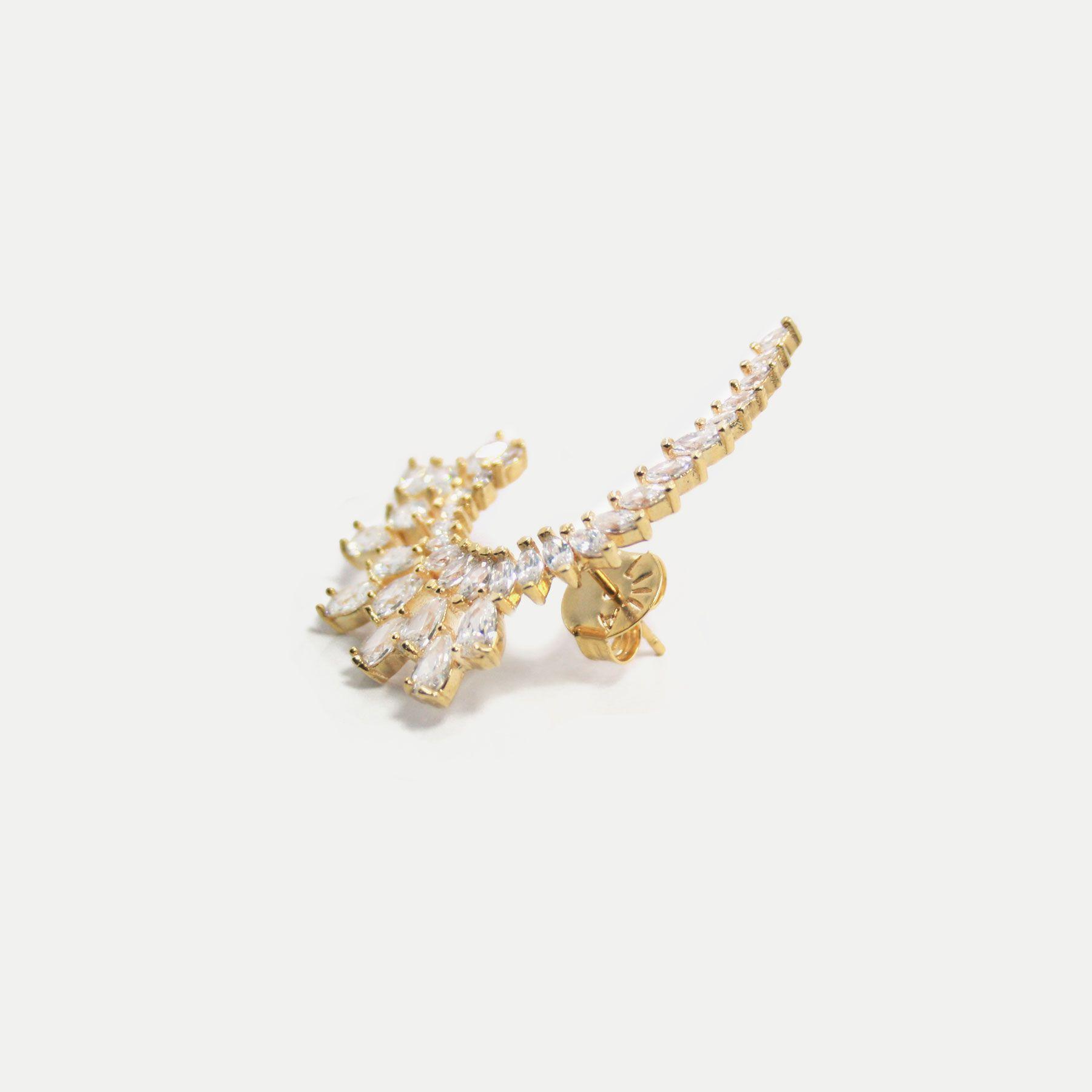 Brinco Maxi Gotas e Navetes Cristal Banhado em Ouro 18k