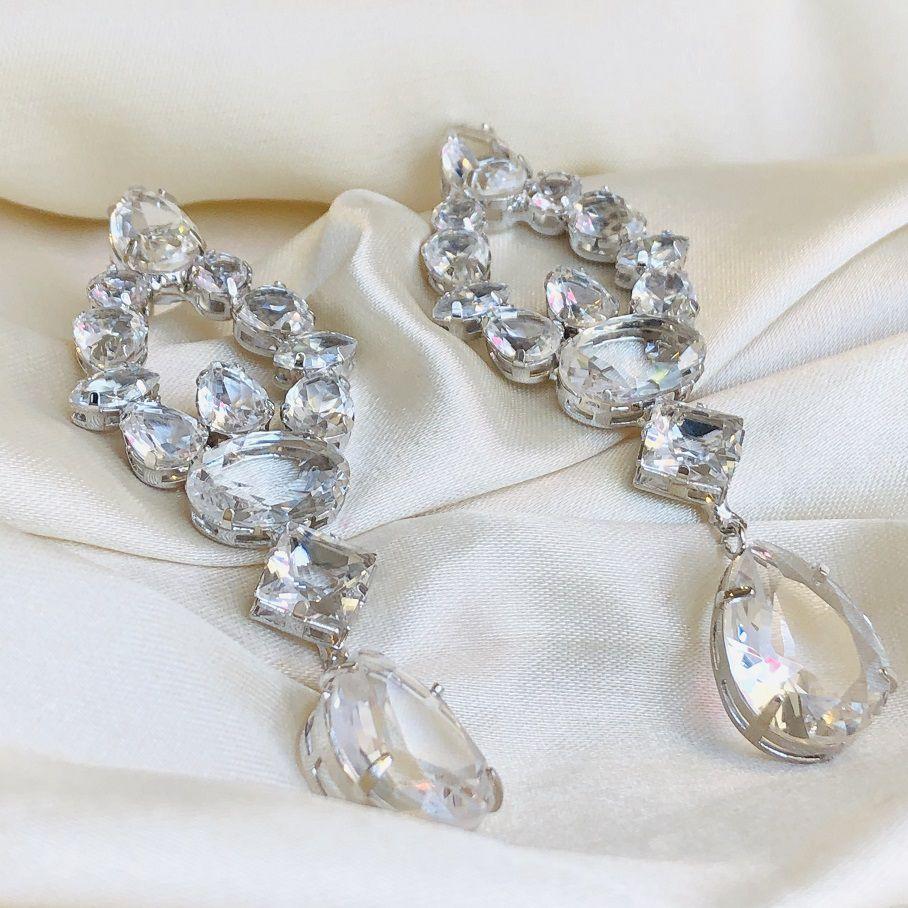 Brinco Maxi Zirconias Cristal Banhado em Ródio Branco