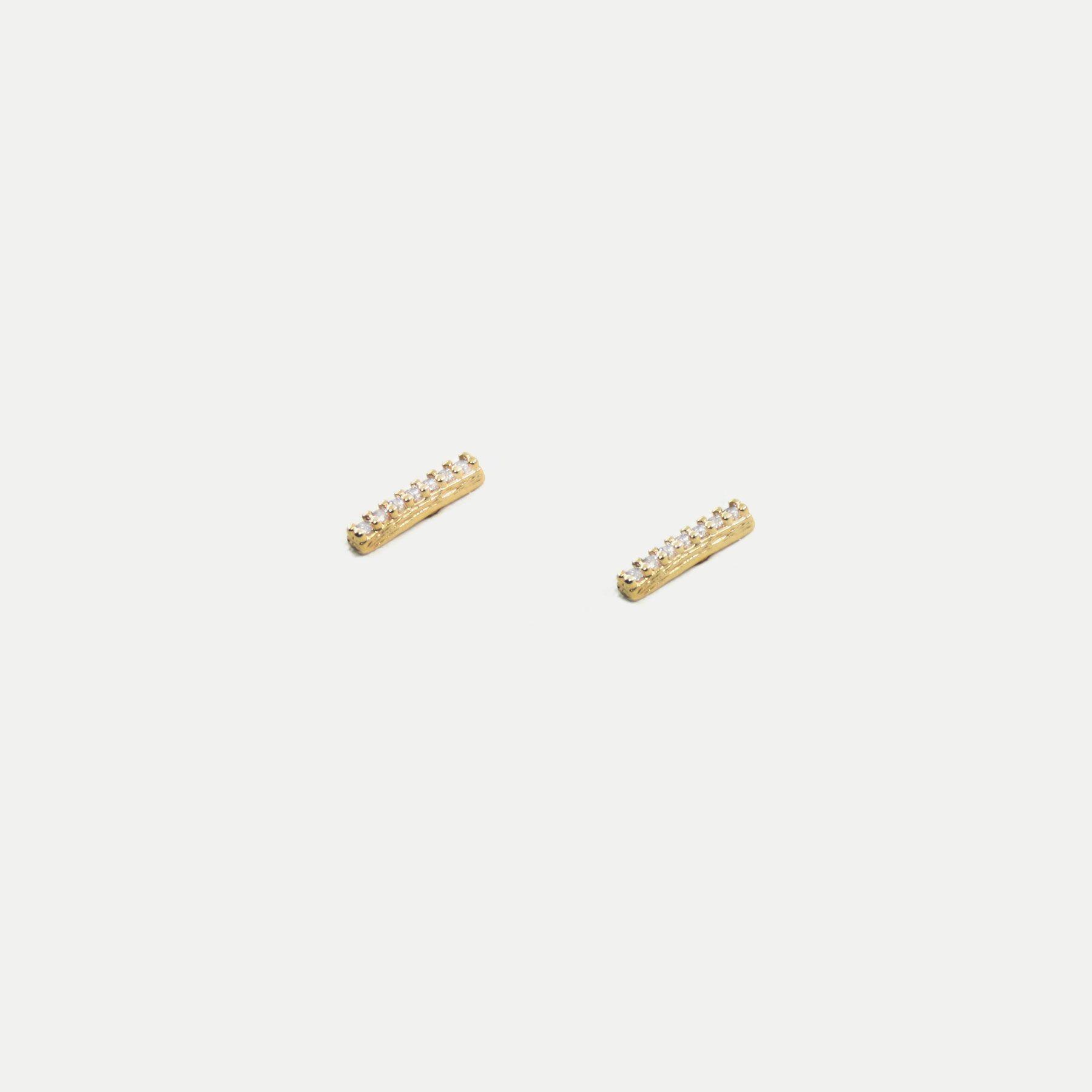 Brinco Mini Fileira de Zircônias Banhado em Ouro 18k