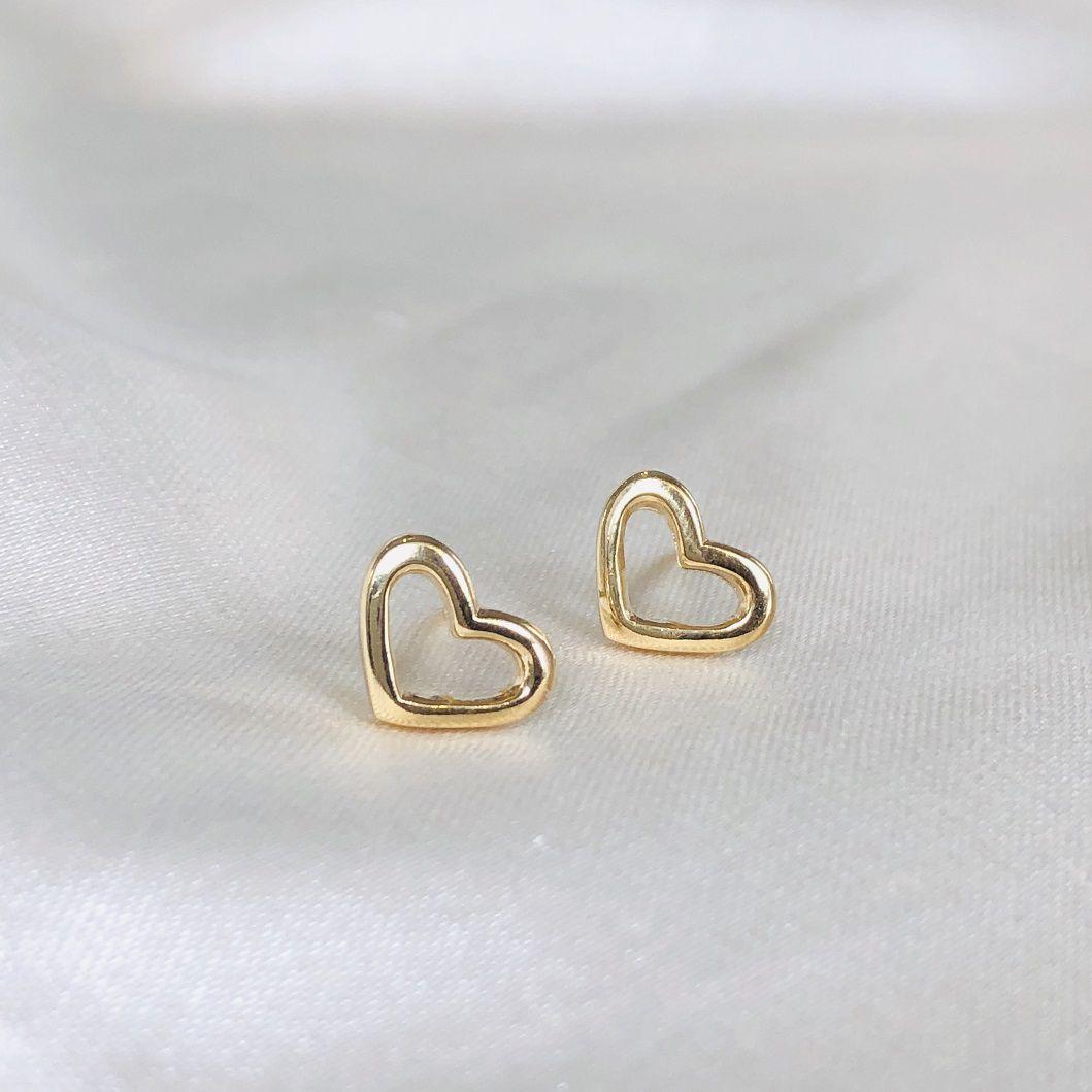 Brinquinho de Coração Vazado Banhado em Ouro 18k