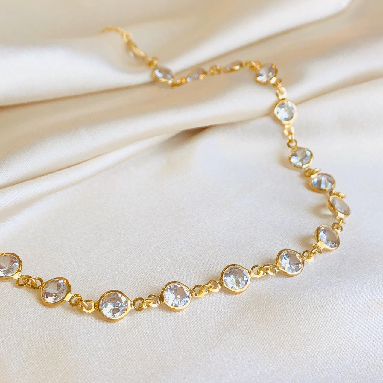 Choker Abundância Zircônias Cristal Banhada em Ouro 18k