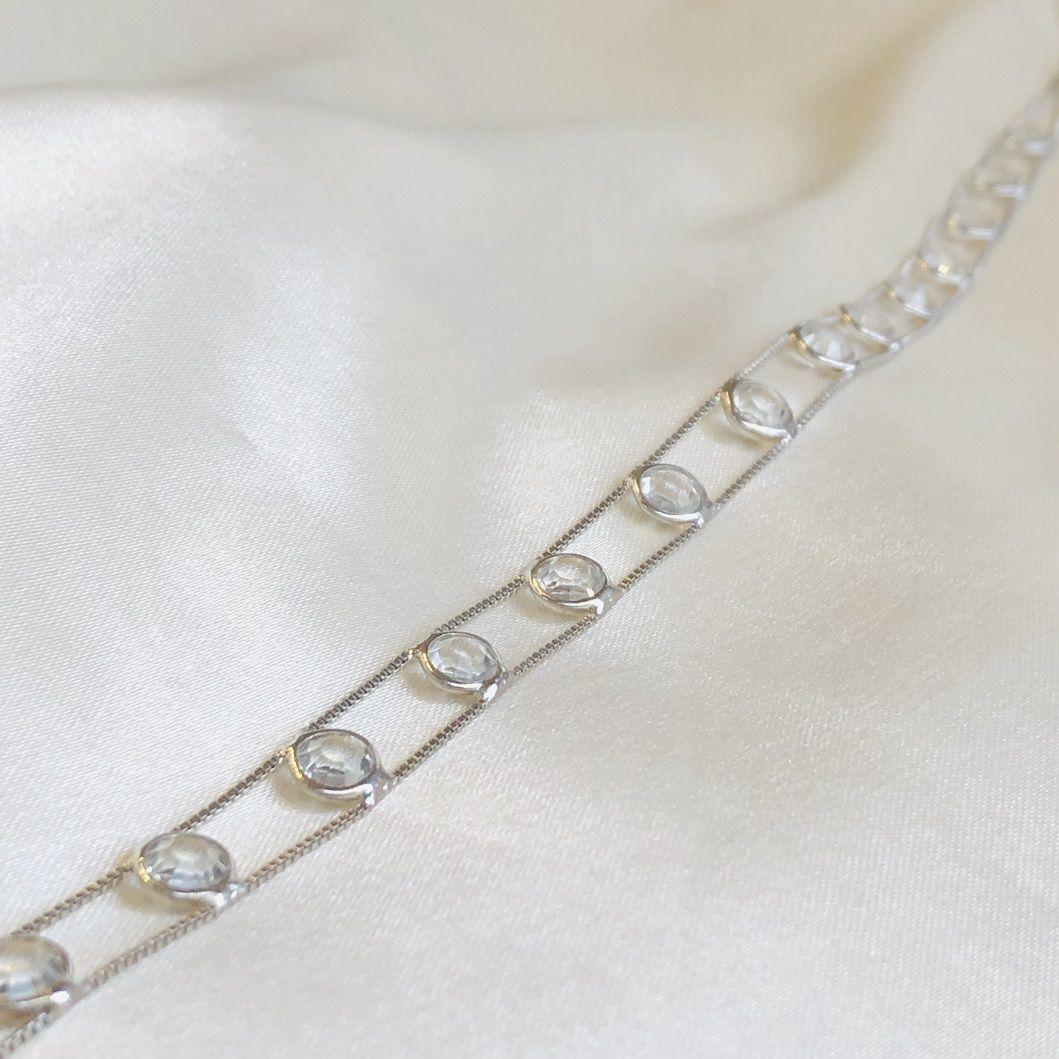 Choker Dupla com Zircônias Cristal Banhada em Ródio Branco