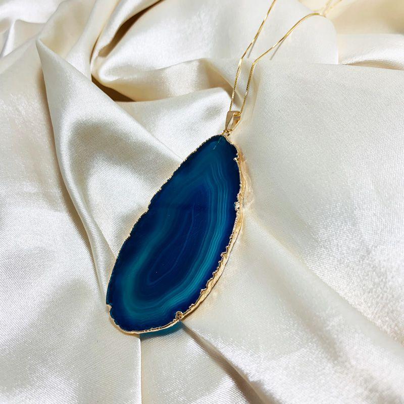 Colar Chapa de Ágata Natural Azul Banhado em Ouro 18k