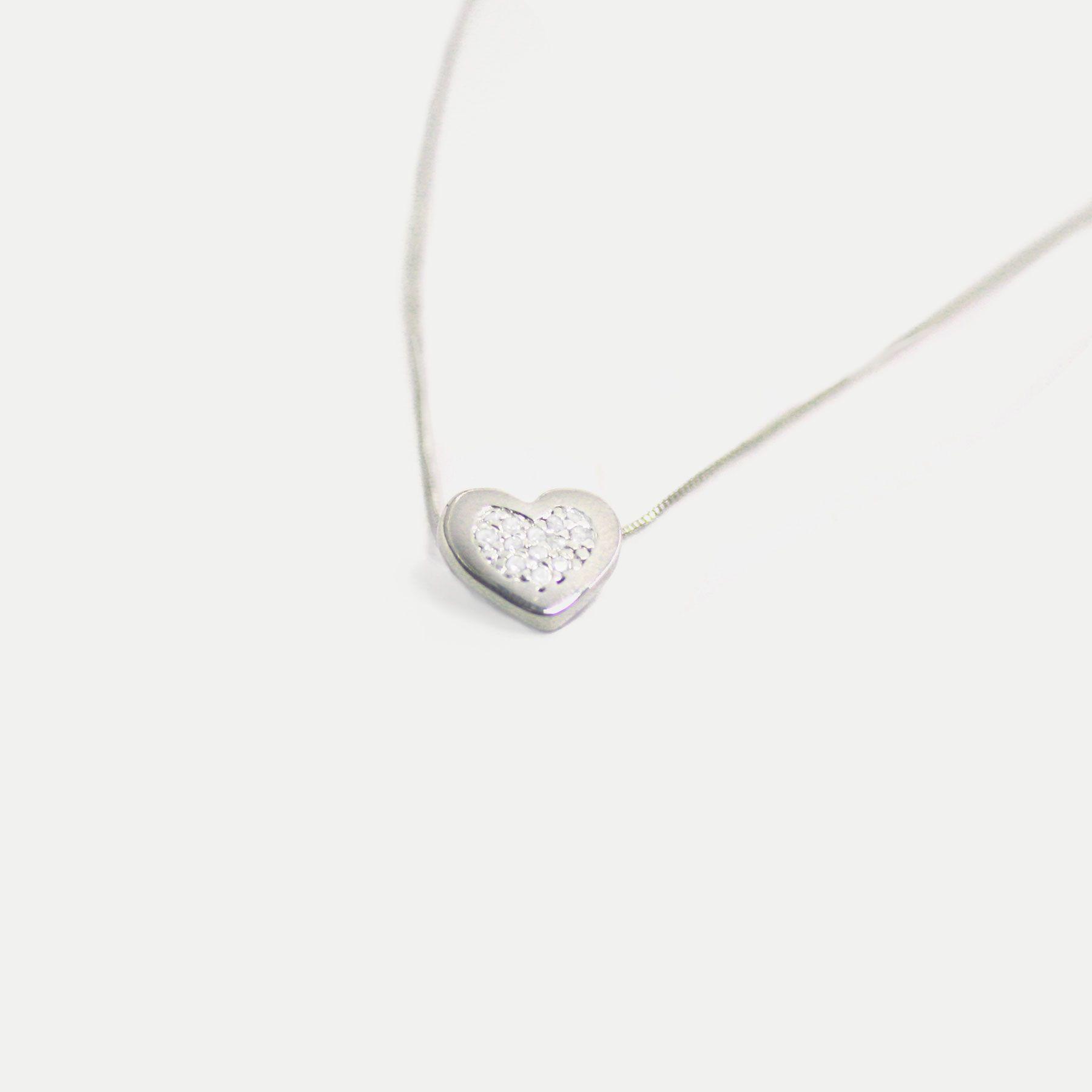 Colar Coraçãozinho Cravejado em Zircônias Banhado em Ródio Branco