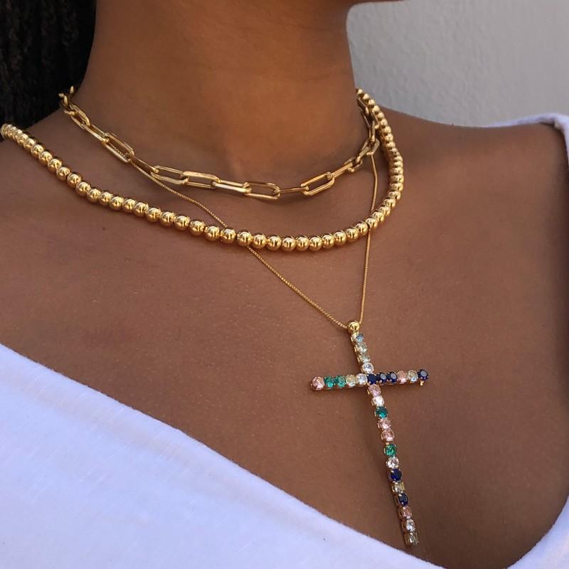 Colar Crucifixo Cravejado Colorido Banhado em Ouro 18k