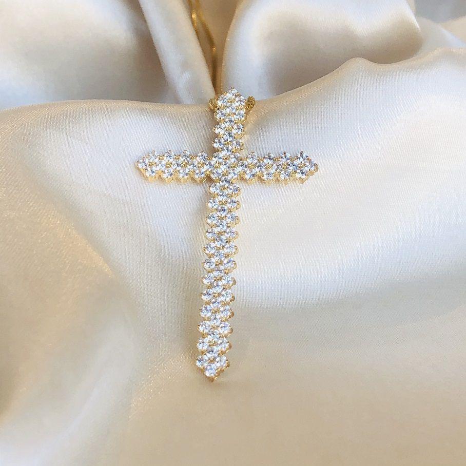 Colar Crucifixo Cravejado Duplo Banhado em Ouro 18k
