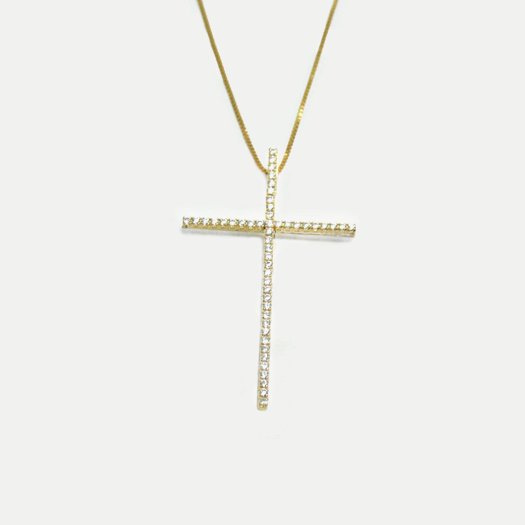 Colar Crucifixo Cravejado em Zircônias Cristal Banhado em Ouro 18k