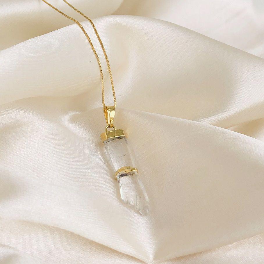 Colar de Figas Pedra Cristal Banhado em Ouro 18k