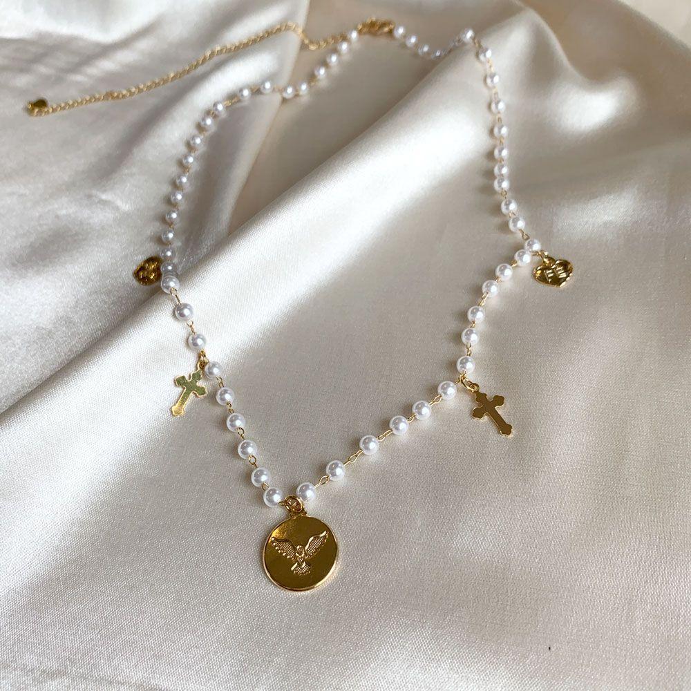 Colar de Pérolas e Espírito Santo Banhado em Ouro 18k