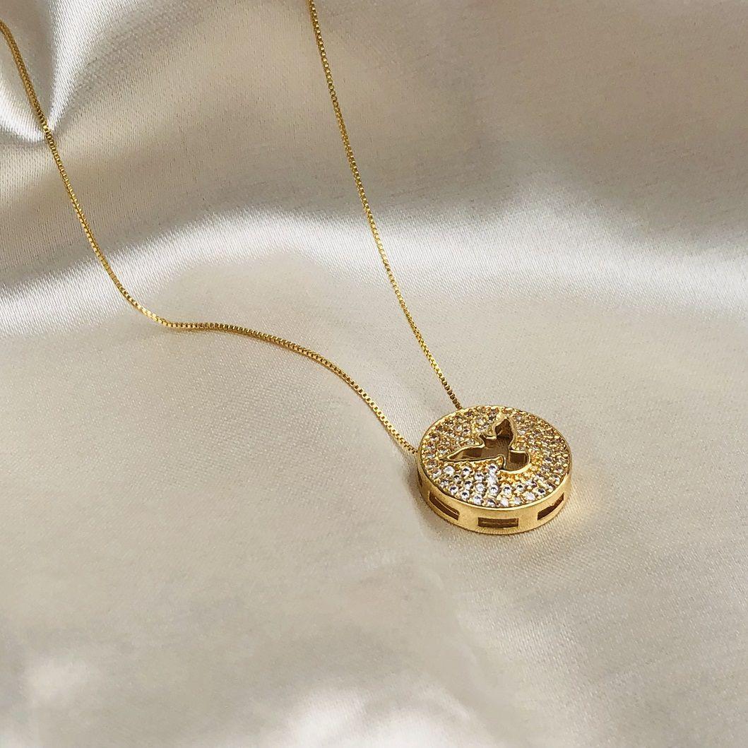 Colar Pingente Espirito Santo Cravejado Banhado em Ouro 18k