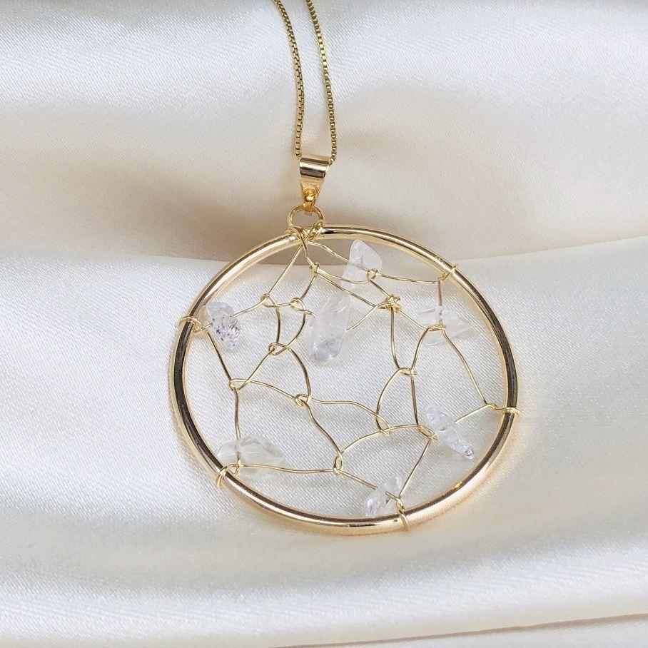 Colar Filtro dos Sonhos Pedra Cristal Natural Banhado em Ouro 18k