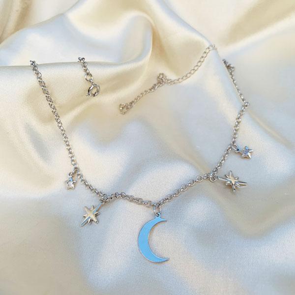 Colar Galático Lua e Estrelas Banhado em Ródio Branco