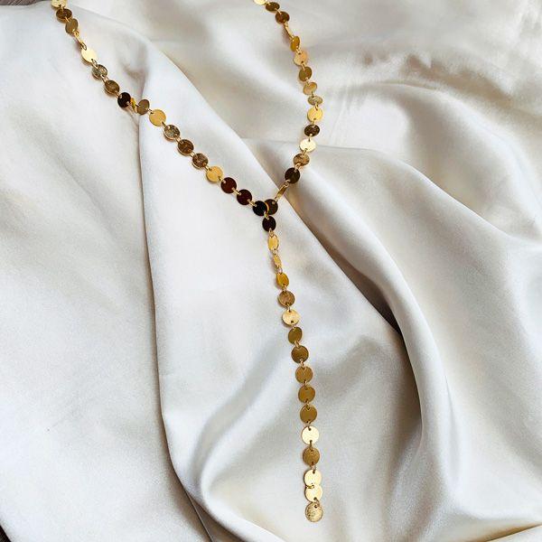 Colar Gravata de Medalhinhas Banhada em Ouro 18k